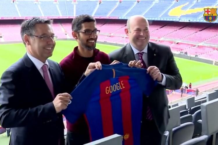 Google. Google CEO, Sundar Pichai, FC Barcelona, La Masia, MWC 2017