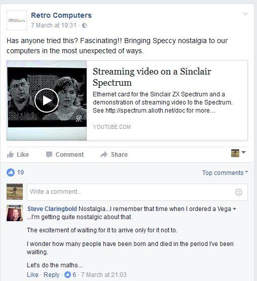 An unhappy Vega+ backer posting on Retro Computer's Facebook page