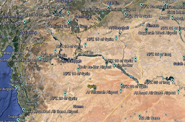 DJI's drone geofences across Iraq and Syria. Screenshot from Google Earth map