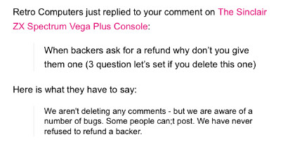 'We have never refused to refund a backer' says Retro Computer Ltd