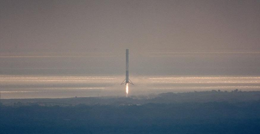 SpaceX Falcon 9 rocket on its return landing 875x450 - SpaceX Falcon 9 Rocket Succesfully Lands After First US Military Mission