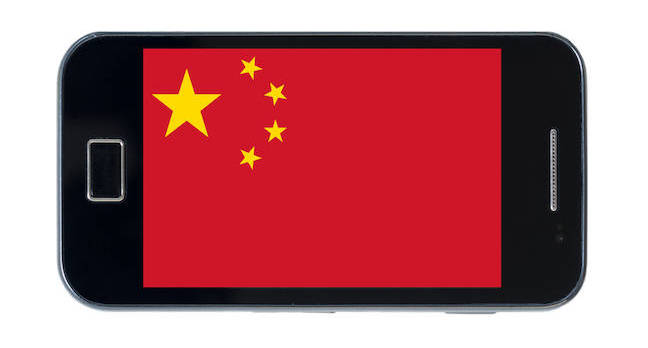 smartphone chinese flag shutterstock - China's phone quartet is shouldering its way into Western markets