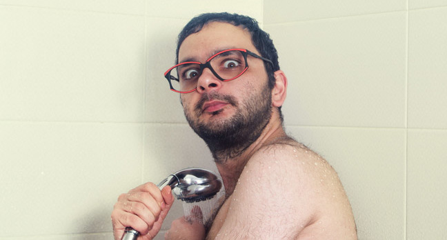 nerd in shower photo via shutterstock - Defend yourself against ISP tracking in an Trump-era free-for-all