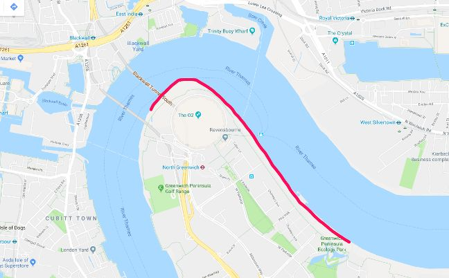 The pink line is the route the Greenwich Gateway trials take around the Greenwich Peninsula