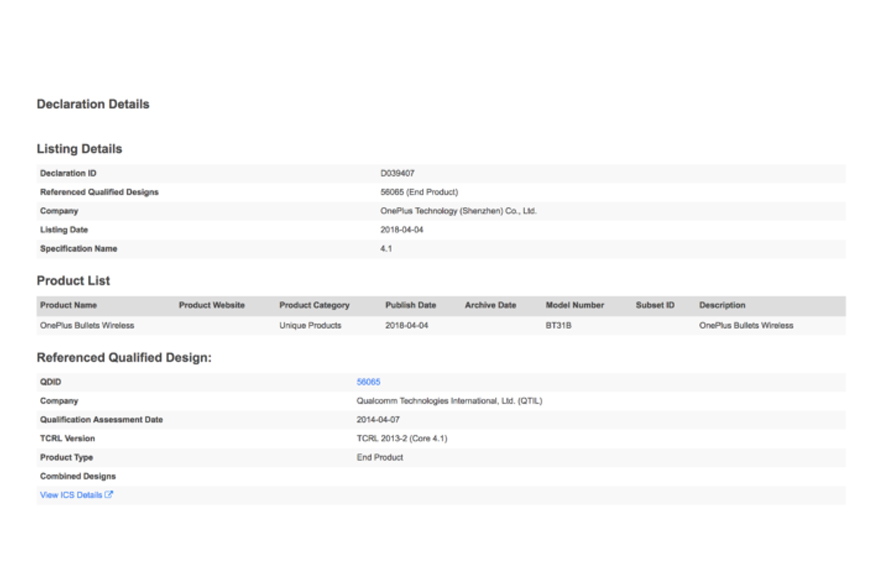 Bluetooth website listing