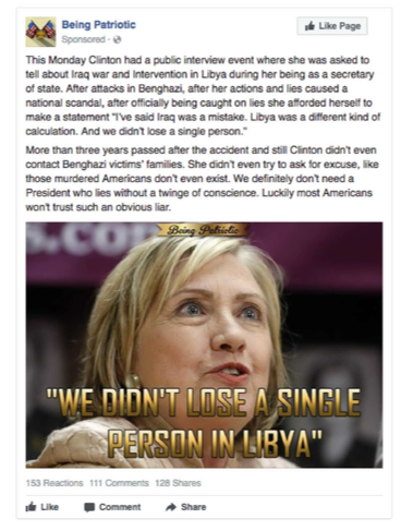 Facebook Russian ads: Clinton